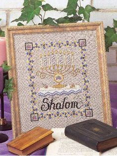 Shalom! Celebrate this peaceful season with a timely cross-stitched piece of art. Stitch Count: 109 wide x 137 high.  Skill level: Challenging