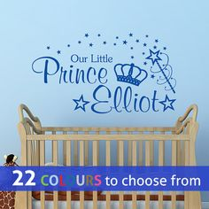 PERSONALISED our little Prince custom name kids baby boys nursery bedroom playroom wall sticker decal art with crown magic wand and stars  sc 1 st  Pinterest & The 54 best Personalised wall art stickers decals for babyu0027s nursery ...
