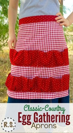 Collect your eggs in style! With these cute, red-check, farm girl, country cotton calico, egg gathering aprons! Keep your eggs safe as they make their way into your house.