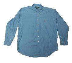 Ralf Lauren blake men's blue shirt size XL 100% cotton logo original #RalfLauren #shirt #blue #retro #vintage