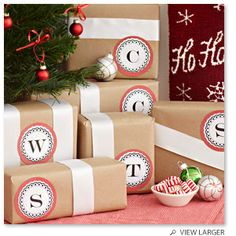 Great wrapping - use initials for gift giving.  Very cute.