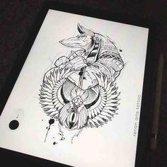 Anubis Tattoo by Steve'Ink Forearm Mandala Tattoo, Forearm Tattoos, Body Art Tattoos, Small Tattoo Designs, Tattoo Sleeve Designs, Sleeve Tattoos, Trendy Tattoos, Small Tattoos, Tattoo Sketches