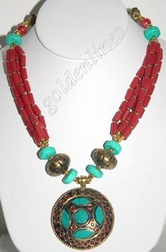 Nepalese Tibetan Handmade Coral Turquoise necklace Tibet Statement Necklace #Handmade #Statement