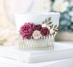 Marsala Burgundy Wedding Bridal Hair Comb Bridesmaid by LeChaim