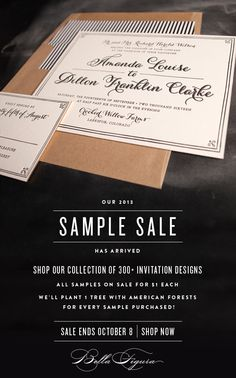 Shop the 2013 Bella Figura sample sale - all invitation samples just $1 each + 1 tree planted for every sample sold