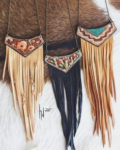 it's beginning to look a lot like NFR prep around here! new styles coming atcha Diy Jewelry Necklace, Leather Necklace, Leather Jewelry, Jewelry Crafts, Fringe Necklace, Boho Jewelry, Necklaces, Jewellery, Sewing Leather