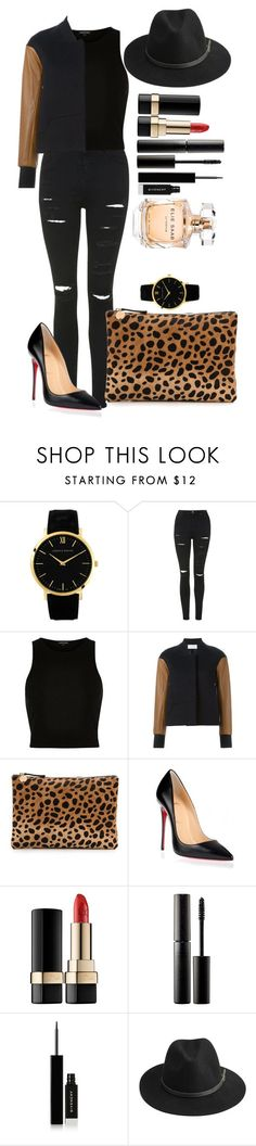 """Untitled #1383"" by fabianarveloc on Polyvore featuring Larsson & Jennings, Topshop, River Island, Tim Coppens, Clare V., Christian Louboutin, Dolce&Gabbana, Surratt, Givenchy and BeckSöndergaard"