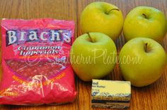 """Cooked Candy Apple Bites.. all you need is a few apples, butter and some """"red hots"""""""