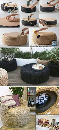 Repurpose tires into awesome covered sisal footstool & chairs. Perfect for your patio