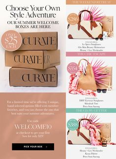 Get a taste of Curateur's luxury subscription box with the Summer Welcome box for just $24.99!!! Choose 1 of 3 luxe 3-piece bundles and use the code WELCOME10! #affiliate #luxury #fashion #beauty #curateur #subscriptionbox #coupon #discount #welcomebox #fashionbox #beautybox #luxurybox #luxurysubscriptionbox Holiday Gift Guide, Holiday Gifts, Fashion Beauty, Luxury Fashion, Shopping Deals, Subscription Boxes, Beauty Box, Parenting Tips, Welcome