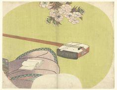 Toyokuni (II) , Utagawa | Courtisane en shamisen, Toyokuni (II) , Utagawa, Ibaya Sensaburo, 1822 | Shamisen bij de rok van een kimono waarop een bundel papier; onder kersenbloesem; tegen groene achtergrond. Waaierprent voor de achterkant van een waaier.