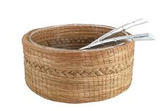 Salad bowl made of woven pine needles