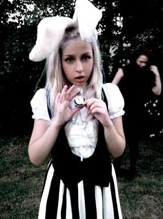 The white rabbit costume :) The stripped dress is cool.
