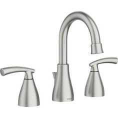 MOEN Essie 8 in. Widespread Bathroom Faucet in Spot Resist Brushed Nickel - The Home Depot Widespread Bathroom Faucet, Lavatory Faucet, Bathroom Sink Faucets, Concrete Bathroom, Sinks, Shower Kits, Shower Door, Marble Vanity Tops, White Sink