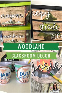 Woodland watercolor classroom decor for elementary middle or high school classrooms. Pretty classroom decorations. Camping classroom decor. Pretty classroom pictures.