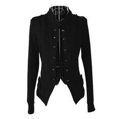 Long Sleeves Stand Collar Double-breasted Slit Epaulets Asymmetrical Hem Elegant Women's CoatCoats | RoseGal.com
