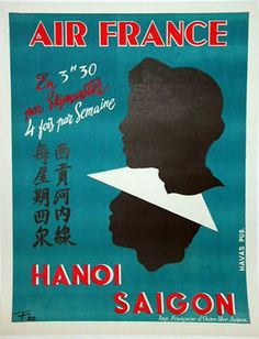1950 Air France Hanoi Saigon Poster