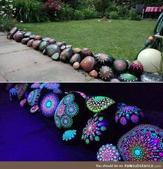 garden architecture Glow-in-the-dark Mandala Rock Painting Garden Yard Ideas, Garden Crafts, Garden Projects, Garden Bar, Outdoor Projects, Patio Ideas, Diy Projects, Glow In Dark Paint, Glow Paint