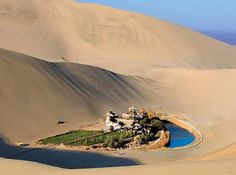 Located approximately 6 km miles) from the outskirts of the city of Dunhuang in Western China, lies Crescent Lake, an incredible oasis in the Gobi desert. Known as Yueyaquan in Chinese, the crescent-shaped lake is a major tourist attraction Dunhuang, Places To Travel, Places To See, Places Around The World, Around The Worlds, Crescent Lake, Cresent Moon, Gobi Desert, Desert Oasis