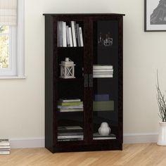Altra Quinton Point Espresso Glass Door Bookcase