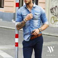 Love a nice, denim shirt. Urban Fashion, Mens Fashion, Casual Outfits, Fashion Outfits, Moda Casual, Mens Trends, Men With Street Style, Men's Wardrobe, Gentleman Style