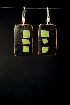 Kathy Watne Enamels. enamel/copper cloissone earrings
