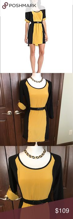 Tracy Reese 2-tone butterscotch/black dress - NWT! New with tags Tracy Reese two tone dress with belt, Sz. Small. Butterscotch yellow and black. 100% silk, very slimming with black panels on the sides. Can roll the sleeves up or down. From a smoke free home Tracy Reese Dresses
