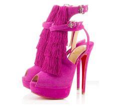 Saçaklı pembe topuklu ayakkabı modeli