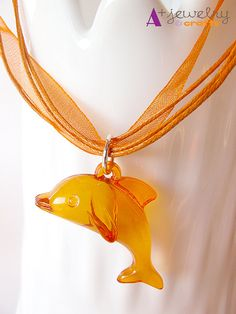 Orange tangerine dolphin dolphin necklace by APlusJewelryCrafts, $6.50
