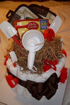 Spin off of a diaper cake... cooking 'cake' by shannon