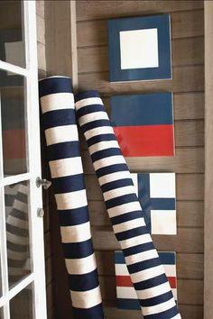 #DashAndAlbert Catamaran Stripe Navy/Ivory Indoor/Outdoor