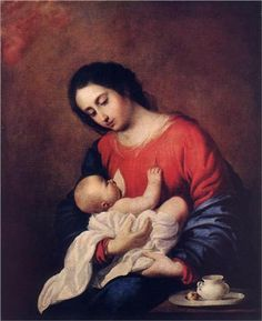 Francisco Zurbarán (Spanish, ~ Madonna with Child ~ oil on canvas ~ 1658 ~ Pushkin Museum ~ Francisco de Zurbarán was a Spanish painter. He is known primarily for his religious paintings depicting monks, nuns, and martyrs, and for his still-lifes. Religious Paintings, Religious Art, Caravaggio, Francisco Zurbaran, Breastfeeding Art, Google Art Project, Baroque Art, Blessed Mother Mary, Mary And Jesus