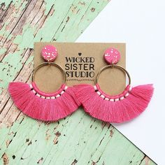 Tassel hoop earrings, bright pink tassel fringe earrings, tassel dangle earrings handmade by wickedsisterstudio by WickedSisterStudio on Etsy https://www.etsy.com/au/listing/587998283/tassel-hoop-earrings-bright-pink-tassel