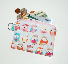 RETRO OWLS - Small Zipper Pouch / Cell Phone Gadget Holder