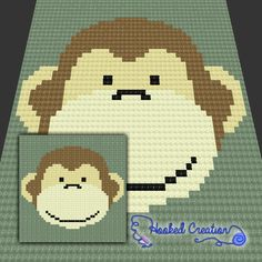 Monkey Face Baby Blanket C2C Crochet Pattern - PDF Download