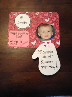 Handmade Valentine's Day card, toddler hand, crafty