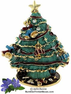 Trinket Box: Christmas Tree-Short Green With Ornaments