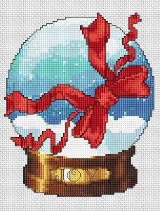Snowball.Ribbon free cross stitch pattern