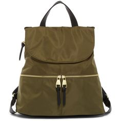 Steve Madden Zip Flap Nylon Backpack (€33) ❤ liked on Polyvore featuring bags, backpacks, olive, steve madden backpack, zip pouch, nylon backpack, olive green backpacks and zip backpack