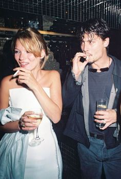Kate Moss with Johnny Depp, 1995.