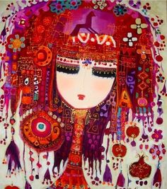 Colurful Artworks by Turkish Painter Canan Berber Woman Painting, Artist Painting, Pottery Patterns, Arabic Art, Turkish Art, Portraits, Russian Art, Beautiful Artwork, Painting Inspiration