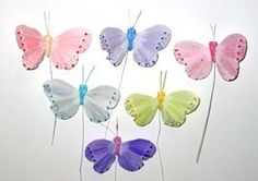 "24 Pc 2""Fake Decorative Artificial Feather Butterflies Craft Wedding Butterfly"