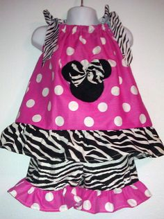 girl handmade clothing online boutiques | Girls Custom Boutique Clothing Minnie Mouse Pillowcase Top And Shorts