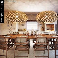 Two David Trubridge KINAs create a kitchen with captivating colors (and alluring light).  Let's eat! The KINA pendant light is made of bamboo plywood by David Trubridge. Click image for where to buy!