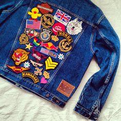 Vintage Patched Denim Jacket / Patched Jean Jacket by KodChaPhorn, $89.00