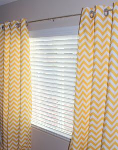 Pair of Designer Custom Curtain Panels 50 x 96 Yellow White Zig Zag Chevron with Grommets