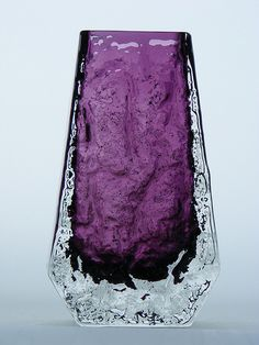 Whitefriars aubergine purple coffin glass vase. Pattern number 9686. Designed by Geoffrey Baxter