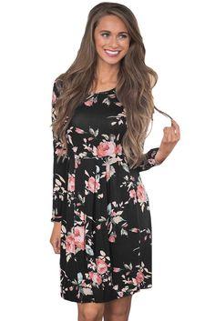 Black Chic Pleated Long Sleeve Boho Floral Pattern Dress MB220125-2 – ModeShe.com