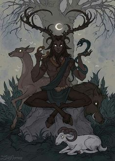 Cernunnos by IrenHorrors Cernunnos (Horned God) is a Celtic god of fertility, life, animals, wealth, and the underworld. He found his place in the modern Wicca religion Fantasy Creatures, Mythical Creatures, Pagan Art, Witch Art, Wow Art, Character Design Inspiration, Art Reference, Character Art, Concept Art