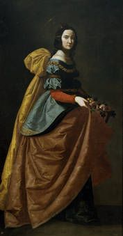 "The saint is shown full length, walking toward the right and wearing a seventeenth-century lady's clothing. The roses she carries over her skirt allude to the miracle in which coins from the Royal Treasury, which she secretly handed out to the needy, turned into roses. A similar story is told about Saint Casilda, with whom this painting has also been identified. This is a ""portrait in a divine manner"" of Queen Isabel of Portugal."